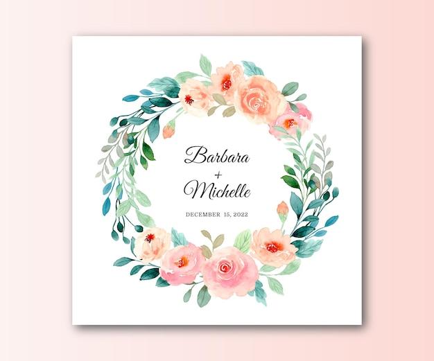 Save the date roze blush rozenkrans met aquarel