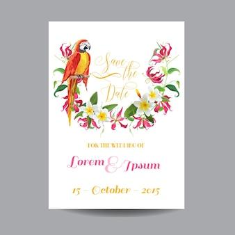 Save the date-uitnodiging met bloemensjabloon