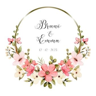 Save the date wit roze bloemen aquarel met cirkel