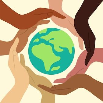 Save the earth globe icon-symbool voor het redden van de wereld platte vectorillustratie