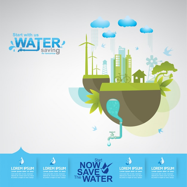 Save the water concept water is leven