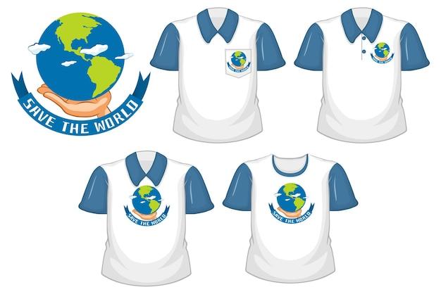 Save the world-logo en set van verschillende witte shirts met blauwe korte mouwen geïsoleerd op een witte achtergrond