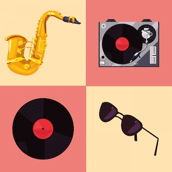 Saxofoon vinyl zonnebril retro