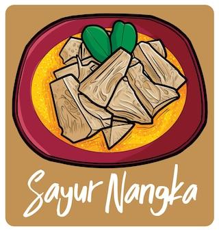 Sayur nangka een traditioneel indonesisch eten in cartoonstijl