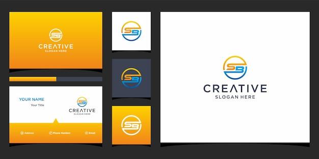 Sb-logo-ontwerp met sjabloon voor visitekaartjes