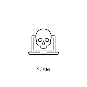 Scam concept lijn pictogram. eenvoudige elementenillustratie. scam concept schets symbool ontwerp. kan worden gebruikt voor web- en mobiele ui/ux
