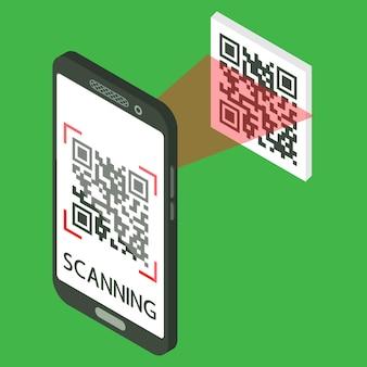 Scan qr-code met mobiele telefoon. isometrische smartphone met qr-code op het scherm. proces van scannen. machineleesbare streepjescode op smartphonescherm. vector