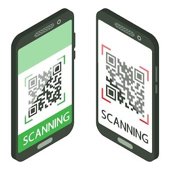 Scan qr-code met mobiele telefoon. isometrische smartphone met qr-code op het scherm. processcans. machineleesbare streepjescode op smartphonescherm. vector