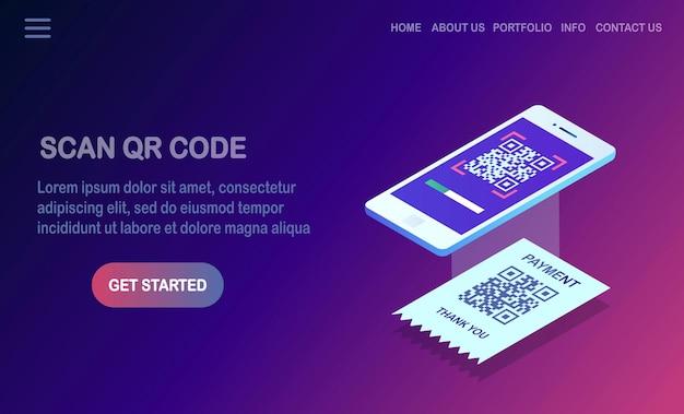 Scan qr-code naar telefoon. isometrische smartphone, mobiele barcodelezer, scanner met betalingsbewijs.