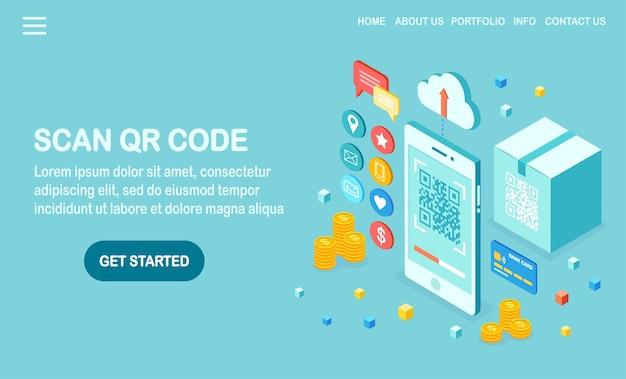 Scan qr-code naar telefoonillustratie
