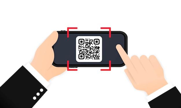 Scan qr-code om te betalen met mobiele telefoon. smartphone scannen van qr-code. barcode verificatie. scan tag, genereer digitaal loon zonder geld. barcode scannen met telefoon.