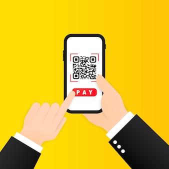 Scan qr-code om te betalen met mobiele telefoon. smartphone scannen van qr-code. barcode verificatie. scan tag, genereer digitaal loon zonder geld.