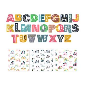 Scandinavisch alfabet en regenboog set schattig fantasie clipart zwart wit collectie geïsoleerd element
