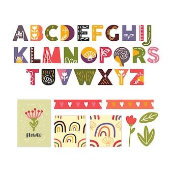 Scandinavisch alfabet en schattige collectie