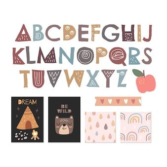 Scandinavisch alfabet, naadloze patroon set schattig collectie