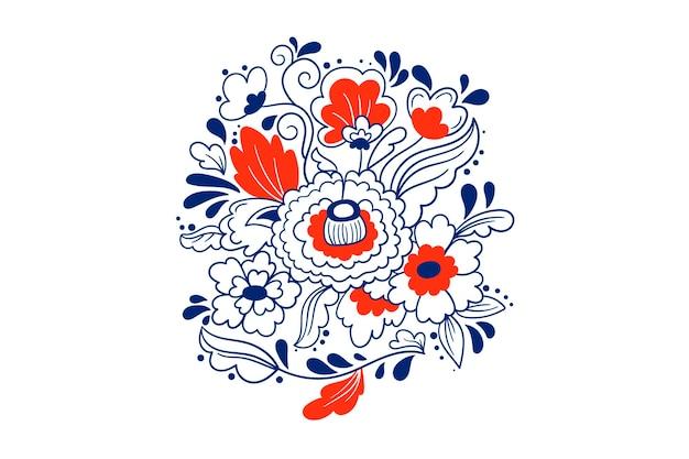 Scandinavisch folk marineblauw ornament. retro bloemenachtergrond. traditioneel borduurwerk