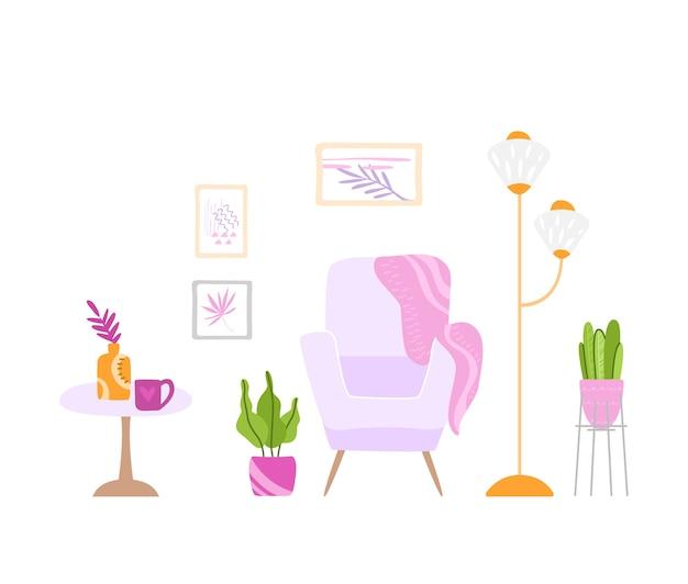 Scandinavisch gezellig kamerinterieur - fauteuil, tafel, lamp, afbeeldingen aan de muur en kamerplanten in pot, modern interieur