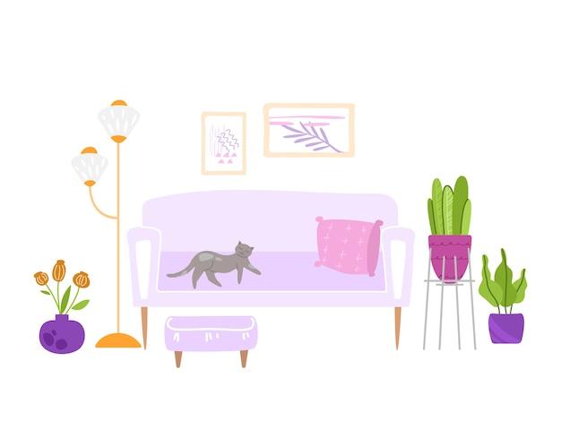 Scandinavisch gezellig kamerinterieur - poef, bank, tafel, lamp, foto's aan de muur en kamerplanten in pot, modern interieur
