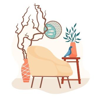 Scandinavisch interieur met fauteuil in retrostijl, bijzettafel, kamerplant, rond beeld, vogelfiguur en mooie twijgen in een staande vaas