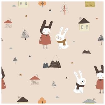 Scandinavisch naadloos patroon met eenvoudige platte huisbomen schattig meisje met konijnenbergen