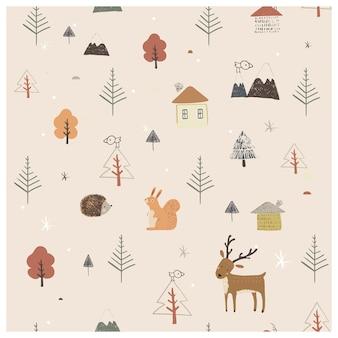Scandinavisch naadloos patroon met eenvoudige platte huisbomen, schattige dieren, bergen en landschap