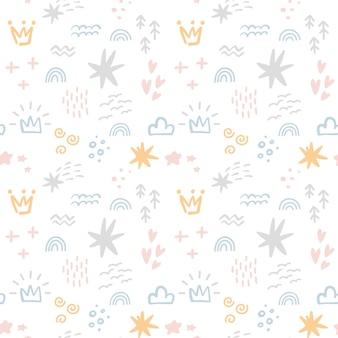 Scandinavisch naadloos patroon met kleurrijke handgetekende organische vormen, wolken, kronen en andere doodle-elementen
