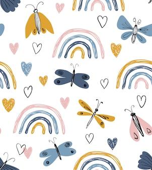 Scandinavisch naadloos patroon met regenbogen, harten, vlinders. hand getekend