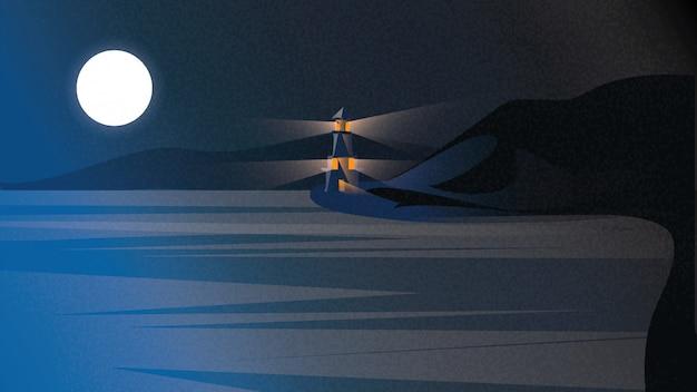 Scandinavisch of noords kustlandschap. nachtscène van baltische zee met vuurtoren onder donkerblauwe hemel.
