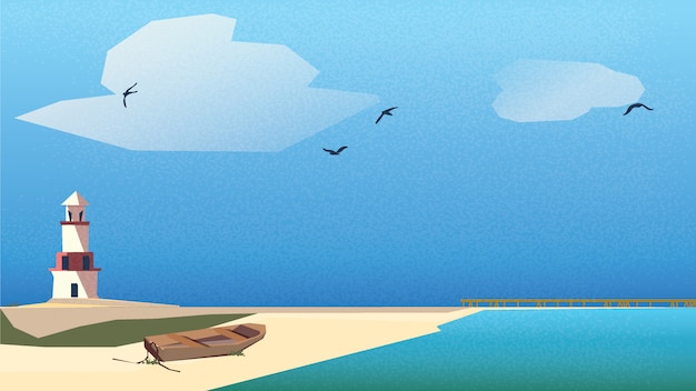 Scandinavisch of noords kustlandschap. vuurtoren, houten boot op het strand met steiger onder blauwe hemel en turquoise groene zee.