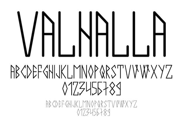 Scandinavisch schrift, in hoofdletters in de stijl van nordic runen. modern ontwerp. een magisch runenlettertype in de etnische stijl van de noordelijke volkeren. latijnse letters, cijfers. vector illustratie.