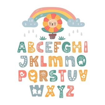 Scandinavische alfabet set schattig fantasie en clipart kleurrijke collectie geïsoleerd el