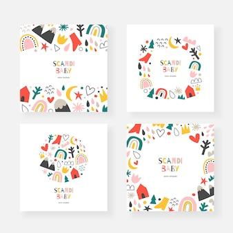 Scandinavische babykaartsjablonen met kopie ruimte, decoratieve frames met doodle illustraties Premium Vector