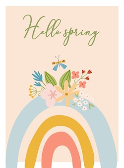 Scandinavische boho lentekaart met lentebloemen, bloeiende takken, vogels en vlinders. goed voor poster, kaart, uitnodiging, flyer, banner, plakkaat, brochure. vector illustratie.