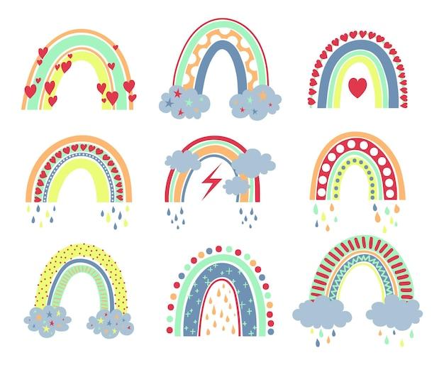 Scandinavische boho regenboogcollectie schattig