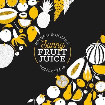 Scandinavische hand getrokken fruit ontwerpsjabloon.