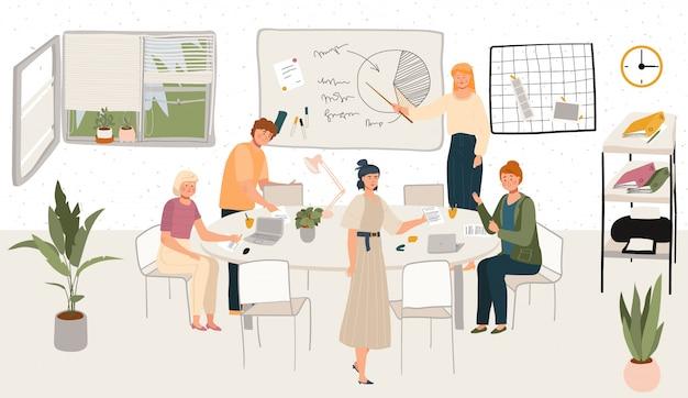 Scandinavische kantoorhygge interieur werkplek of thuiskantoor met stijlvolle comfortabele meubels en illustratie van werkende mensen.