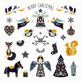 Scandinavische kerst elementen collectie