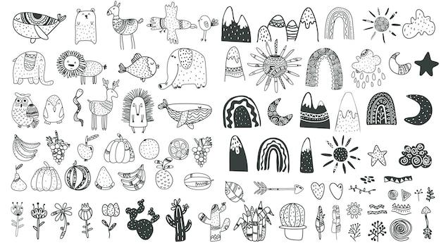 Scandinavische kinderelementen schattige kinderen boho-elementen dieren planten