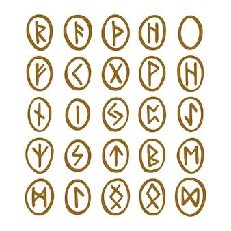 Scandinavische magische runen waarzegger voorspelling hekserij gereedschap goudkleurig