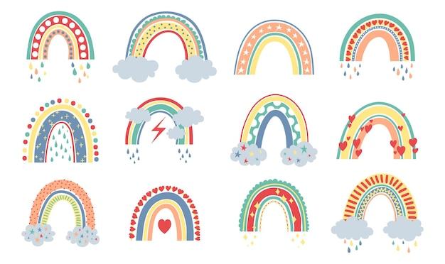 Scandinavische regenboog cartoon regenbogen met wolken bloemen en sterren in pastelkleuren