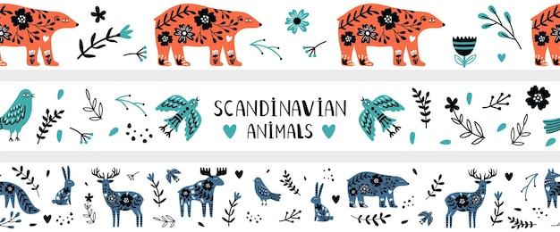 Scandinavische spandoeken. noordse wilde dieren, doodle bloemen elementen naadloos patroon. kinderachtige hipster moderne decoratieve vectorelementen