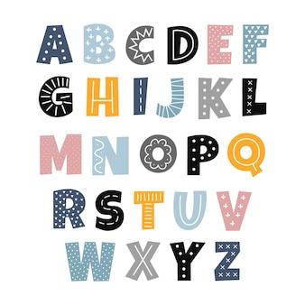 Scandinavische stijl alfabet voor kinderen leuke kleurrijke letters met abstracte hand getekende decor