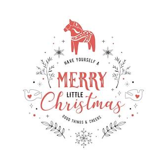 Scandinavische stijl, eenvoudige en stijlvolle merry christmas-wenskaart met handgetekende elementen