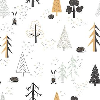 Scandinavische stijl. herfst bos. naadloze achtergrond, vectorillustratie.