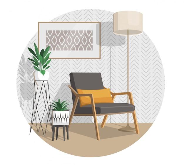 Scandinavische stijl interieurdecoratie, vlakke afbeelding.