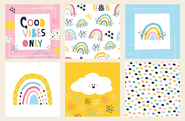 Scandinavische stijl regenboog. set voor het decoreren van een kinderkamer, verjaardag, bedrukking op stof. 2 naadloze patronen, 2 geïsoleerde elementen, belettering, karakter. vectorillustratie, met de hand getekend