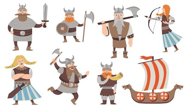 Scandinavische vikingen set. middeleeuws stripfiguur, krijgers en soldaten in pantsers met bijlen, traditionele zeilboot. geïsoleerde vectorillustratie voor noorwegen, cultuur, geschiedenis, mythologie