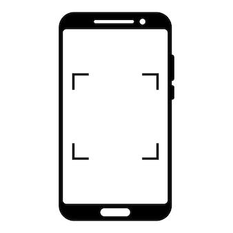 Scannen of camera-interface in telefoonscherm. zoeker, raster, focus, knop en rec. eenvoudig smartphonemodel voor fotografie, selfie en video. glyph-pictogram. vector