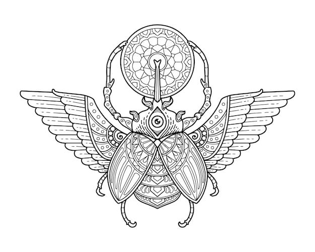 Scarab beetle mandala ontwerp. kleurplaat