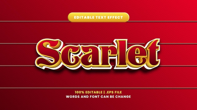 Scarlet bewerkbaar teksteffect in moderne 3d-stijl